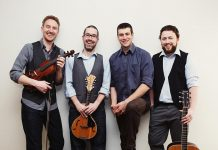 There's no shortage of live music to celebrate St. Patrick's Day on Sunday, March 17th, including Peterborough's own modern Celtic quartet Hunt The Hare (Kane Miller, Jonathan Berlingeri, Frank Callaghan, and Brendan Quigley), who are performing a free show at the Canoe & Paddle in Lakefield on Sunday night. (Publicity photo)