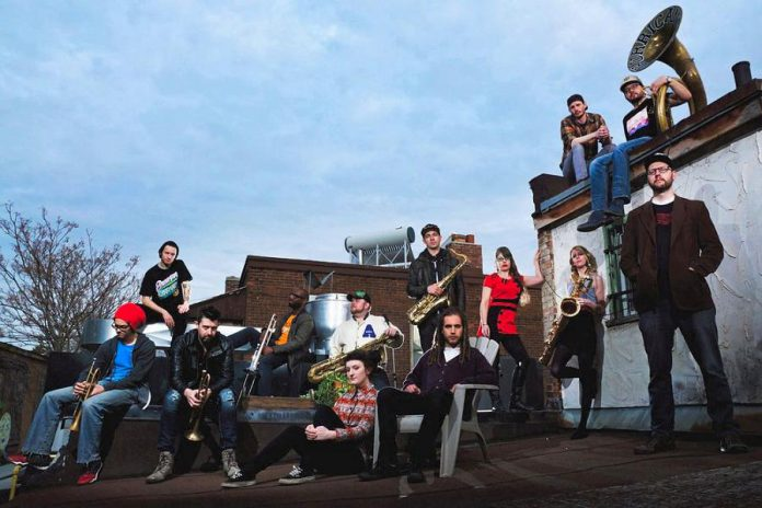 Hip-hop and funk brass band My Son the Hurricane returns to Peterborough for a show at the Red Dog in downtown Peterborough on Saturday, March 9th, as part of the Peterborough Folk Festival's Winter Folk Fest. (Publicity photo)