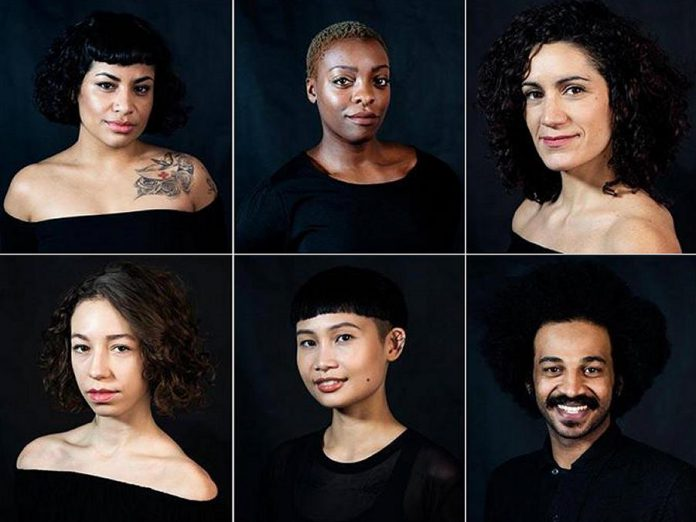 """No Woman's Land"" was created with and is performed by (left to right, top to bottom): Irma Villafuerte, Nickeshia Garrick, Victoria Mata, Drew Berry, Denise Solleza, and Ahmed Moneka.  (Photos: Kevin Jones)"