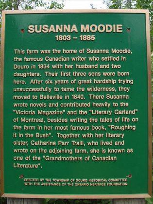 A historical plaque near the farm of Susanna Moodie in Douro. (Photo: Douro Historical Committee)