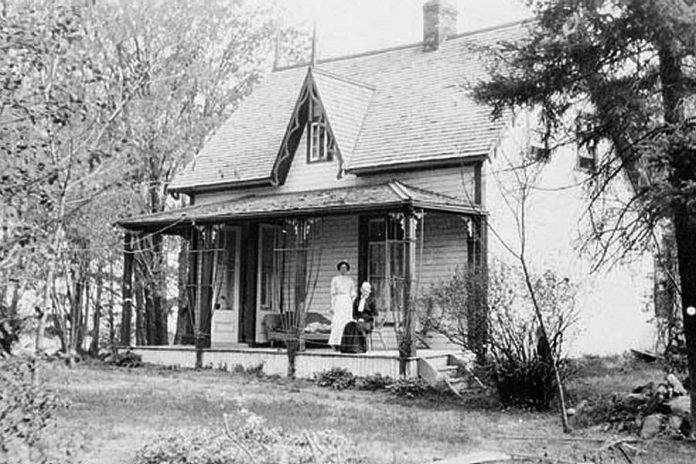 "19th-century writer Catharine Parr Traill at ""Westove"", her home in Lakefield from 1860 until her death in 1899. (Photo: Traill Family Collection, National Archives of Canada)"