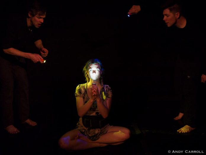"""In """"Gum and Goo"""", Ange Sorenen plays Mary, an autistic girl who retreats into her own mind during moments of distress where she confers with Gum (Derek Bell) and Goo (Mark McGilvray), the gremlins that live in the darkness in her head. (Photo: Andy Carroll)"""