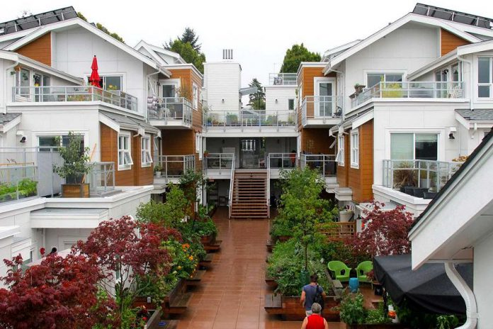 The Kawartha Commons cohousing group is looking at potential sites in Peterborough to create the first cohousing development in the Kawarthas by 2023. Pictured is the Vancouver Cohousing project in British Columbia, launched in 2016, which features 31 units in an old traditional neighbourhood, with a mix of young children and parents, seniors, and single people. (Photo: Canadian Cohousing Network)