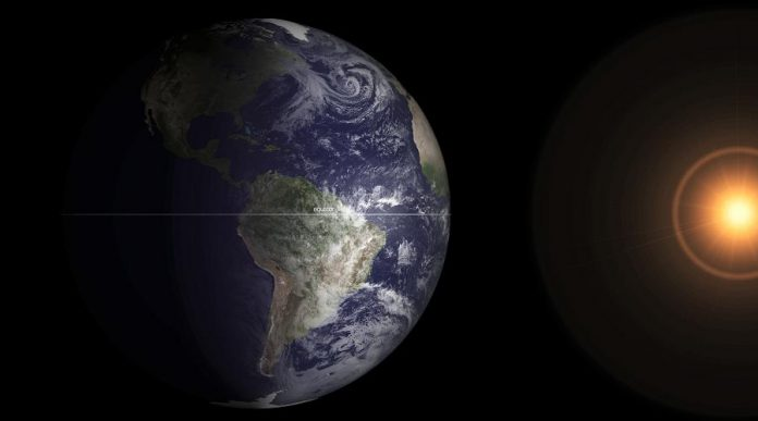 Spring arrives in the northern hemisphere when the equator passes the centre of the sun's disk and the earth's axis is perpendicular to the sun. Daylight hours begin to increase until June, as the northern hemisphere increasingly tilts towards the sun. (Photo: NASA)