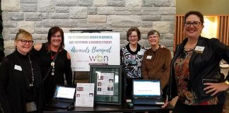 Nominations for the 2019 Women in Business and Judy Heffernan Awards close on March 16, 2019, with nominees announced on March 17 and the awards presentation taking place on April 9, 2019. Members of the organizing committee include (from left to right): Amy Simpson, Sofie Andreou, Gwyneth James, Carrie Warkford, and Charlina Westbye. Simpson and James are both past recipients of the Woman in Business Award, Andreou is a past recipient of the Judy Heffernan award, and Westbye is the daughter of the late Judy Heffernan. (Photo: Women's Business Network of Peterborough)