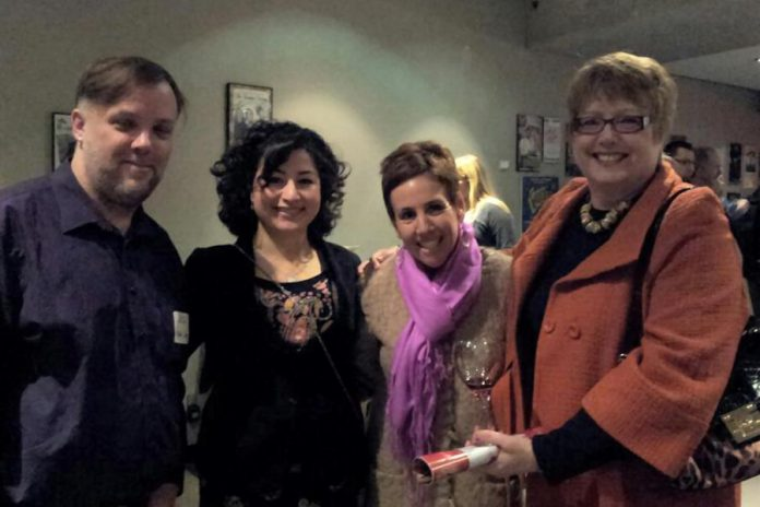 Judy Heffernan (right) pictured at a business event in 2012 with (from left to right) local artist Jeffery Macklin, Maryam Monsef (before she entered politics), and Carol Lawless.  Heffernan, a tireless promoter of the entrepreneurial dreams and passions of women, passed away in 2013 after a brief battle with brain cancer. (Photo: Jeannine Taylor)