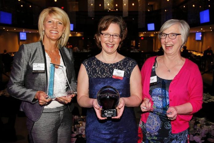 Gwyneth James of Cody & James Chartered Professional Accountants (middle) was named the Business Woman of the Year at the 2016 Peterborough Examiner Women in Business Awards, with Bridget Leslie of My Left Breast (left) and Betty Halman-Plumley of Investors Group (right) as finalists. Now known as the Women in Business Award, the award is being presented in 2019, along with the Judy Heffernan Award,  by the Women's Business Network of Peterborough.  (Supplied photo)