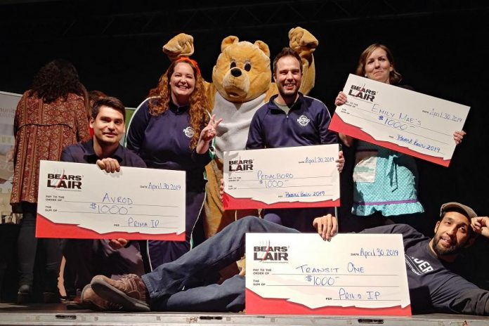 The four runners-up (Jeremy Brooks of AVROD, Hillary Flood and Pete Rellinger of PedalBoro, Jen Wight of Emily Mae's Cookies & Sweets, and Husayn Dharshi of Transit One) each received a cash prize of $1,000. (Photo: Paula Kehoe)