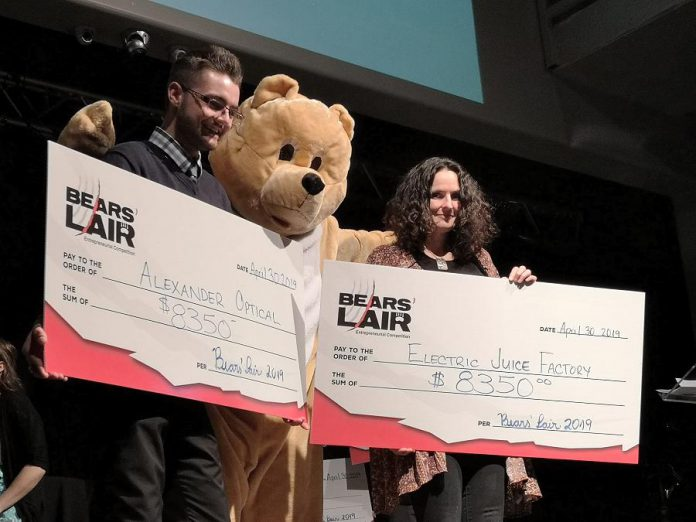 Dylan Trepanier of Alexander Optical and Cheryl Gould of Electric Juice Factory have won the 2019 Bears' Lair Entrepreneurial Competition, with each taking home a cash prize of $8,350. The final pitch event was held on April 30, 2019 at The Venue in downtown Peterborough. (Photo: Bianca Nucaro / kawarthaNOW.com)