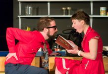 """Chris Jardin as Earnest and Robyn Smith as Ernestine, newlyweds who move into their first home and soon discover each other's annoying foibles. Directed by Ryan Kerr, """"The Anger in Ernest and Ernestine"""" runs at The Theatre on King in downtown Peterborough from April 11 to 13, 2019. (Photo: Andy Carroll)"""