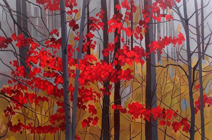 "'Red Leaves II' (2018, 60x40"", acrylic on canvas) by Leanne Baird. (Photo courtesy of Colborne Street Gallery)"