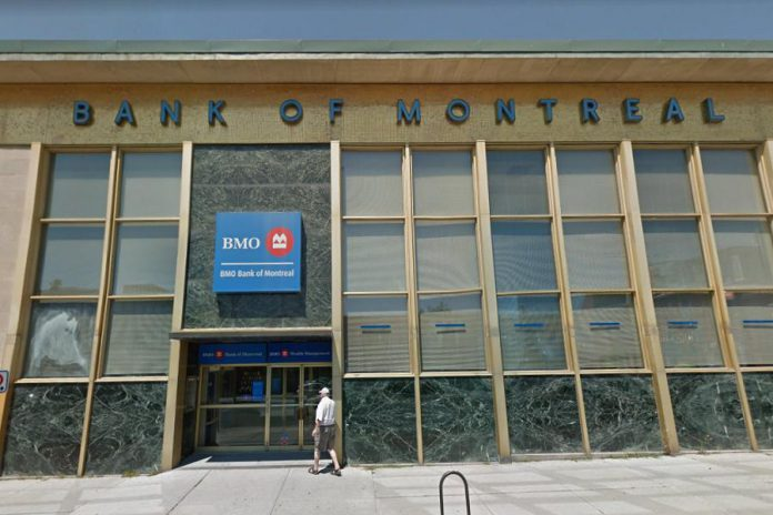 The BMO Bank of Montreal building at Water and Simcoe Streets in downtown Peterborough is closing on August 9, 2019. The building was constructed for the bank in 1960 and was designed by German-Canadian architect Eberhard Zeidler. (Photo: Google Maps)