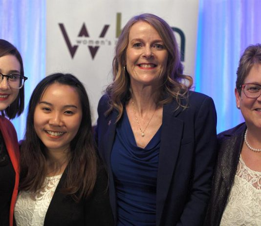 2019 Women in Business Award winner Monika Carmichael (second from right) and 2019 Judy Heffernan Award winner Kim Appleton (right) along with Tara Spence from Trent University and Jo Oanh Ho from Fleming College, the recipients of the 2019 Female Business Student Award. Not pictured: Erin McLean and Bridget Leslie, the two finalists for the 2019 Women in Business Award. (Photo: Bianca Nucaro / kawarthaNOW.com)