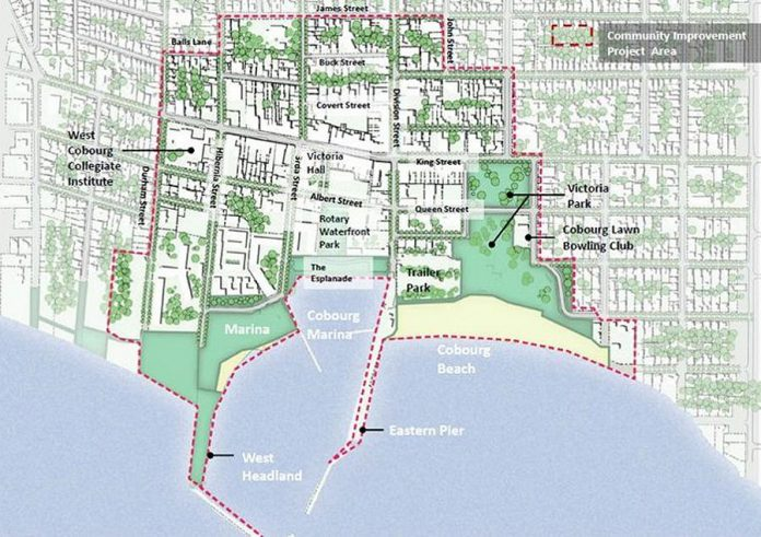 Eligible applicants for 2019 Downtown Cobourg Vitalization Community Improvement Plan are building owners within the defined project area. (Map: Town of Cobourg)
