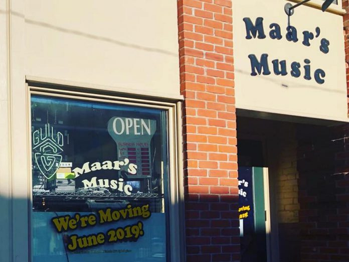 Maar's Music, the oldest locally owned music store in Peterborough, is moving from downtown Peterborough to Brookdale Plaza this summer. (Photo: Maar's Music)