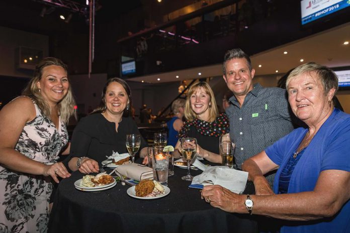 Attendees at the 2018 Business Hall of Fame event enjoying food and beverages supplied by Peterborough restaurants. Food vendors at this year's Culinary Showcase include Amuse Café, BE Catering, Central Smith Creamery, Curry Village, Electric City Bread Company, Fresh Dreams, Imperial Tandoor, La Mesita Restaurante, SKH Events and Catering Company, and more. Tickets are now available for the  2019 Business Hall of Fame, Induction Ceremony, and Culinary Showcase, which takes place on May 23rd at The Venue in downtown Peterborough.  (Photo: Heather Doughty)