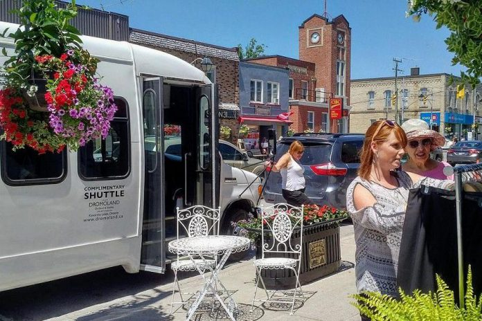 The White Lightning Shopping Bus in Fenelon Falls during a test run in the summer of 2018. Bus owners Michael Bryant and Pauline Kiely are launching regular routes every Tuesday beginning April 30, 2019. (Photo: Danielle VanGennip)