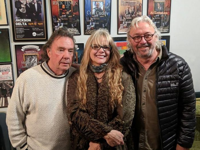 Singer-songwriter Carrie Alice William, pictured here with Neil Young's brother Bob Young (left) and local musician Alan Black (right) when she performed two intimate concerts at SLAB Productions' Visiting Artists Series in Peterborough in October 2018. (Photo courtesy of Alan Black)