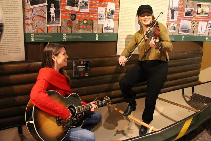 Musicians Kate Suhr and Melissa Payne performing at The Canadian Canoe Museum  on March 5, 2019 during the announcement of the Campfires & Cocktails event. Suhr and  Payne, along with musician Kate Brioux, will perform as the Dixie Hicks at the fundraiser, which takes place at the museum on May 4, 2019. (Photo courtesy of The Canadian Canoe Museum)