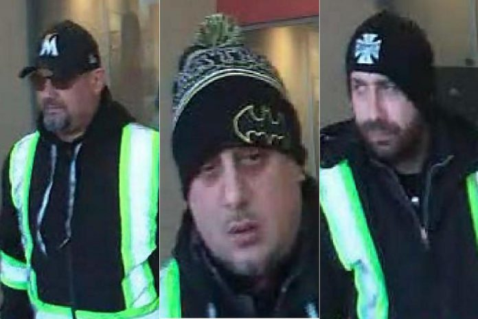 Police are seeking three suspects in a distraction theft scam which saw an elderly victim have his debit card stolen and used. (Photos provided by Peterborough Police Service)