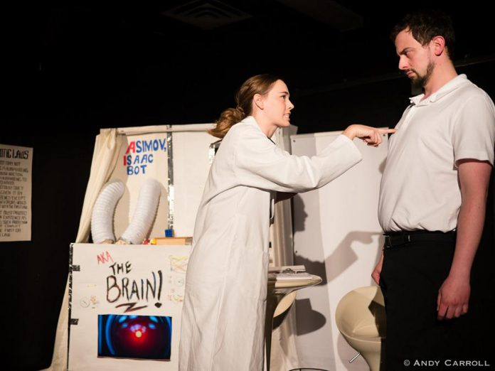 "Kaitlyn VanKoppen as Dr. Susan Calvin and Addison Wylie as Dr. Robert Levan. Writer and director Eryn Lidster also created the campy yet sophisticated set, including the supercomputer Isaac a.k.a. ""The Brain.""  (Photo: Andy Carroll)"
