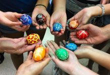 """During the First Friday Art Crawl, Oksana Hawrylak and Olenka Kleban of Folk Camp Canada will be at Watson & Lou (383 Water St.) to demonstrate how to make """"Pysanky"""" (Ukrainian Easter eggs) just in time for Easter. It's one of many events taking place in downtown Peterborough on on April 5, 2019. (Photo: Folk Camp Canada / Instagram)"""