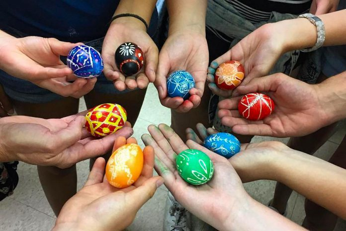 "During the First Friday Art Crawl, Oksana Hawrylak and Olenka Kleban of Folk Camp Canada will be at Watson & Lou (383 Water St.) to demonstrate how to make ""Pysanky"" (Ukrainian Easter eggs) just in time for Easter. It's one of many events taking place in downtown Peterborough on on April 5, 2019. (Photo: Folk Camp Canada / Instagram)"