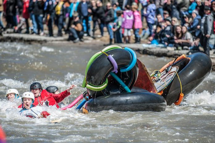 "As 'Float Your Fanny Down The Ganny' is an environmentally friendly event, no fish will be harmed during the race. The same can't be said for some of the questionable watercraft in the 10-kilometre ""Crazy Craft"" race, such as this one at at 2018's 'Float Your Fanny Down the Ganny'.  (Photo: Walton St. Photography)"