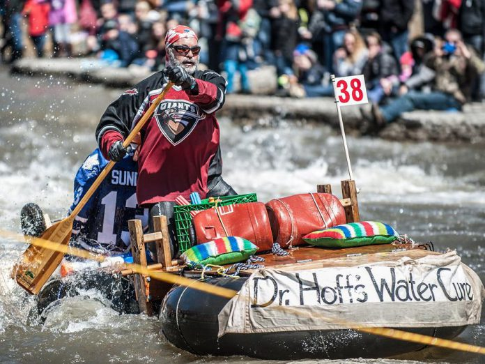 "Part of the fun at 'Float Your Fanny Down the Ganny' for spectators is witnessing the wacky watercraft some participants select for the 10-kilometre ""Crazy Craft"" race.  If you want to participate in this year's race, you have until April 12, 2019 to register. (Photo: Walton St. Photography)"