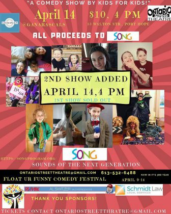 "Ontario Street Theatre is presenting the annual ""Float Ur Funny Comedy Festival"" during race week, including a fundriasing comedy show featuring kid comics at Ganarascals in Port Hope on April 14, 2019. (Poster: Ontario Street Theatre)"
