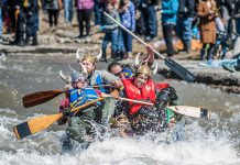 A team paddling their makeshift watercraft battles the current of the Ganaraska River during last year's 'Float Your Fanny Down the Ganny' race. This year's race is scheduled for Saturday, April 13, 2019. (Photo: Walton St. Photography)