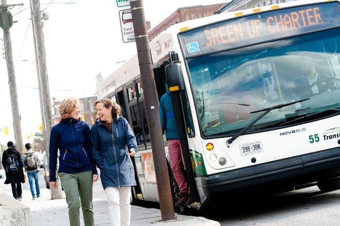 Peterborough Transit riders are encouraged to participate in Shifting Gears this May. A 10-ride bus pass is a great backup for those who regularly ride, walk, or carpool, but need a quick way home in a pinch.  (Photo courtesy of GreenUP)