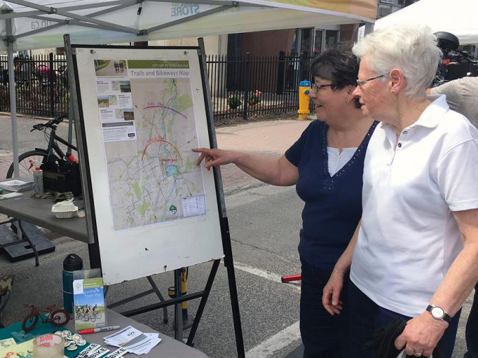 Participants find new routes around town at the Shifting Gears booth at the Farmers' Market. Shifting Gears will be at the Wednesday Downtown Peterborough Farmers' Market on May 1, 2019. (Photo courtesy of GreenUP)