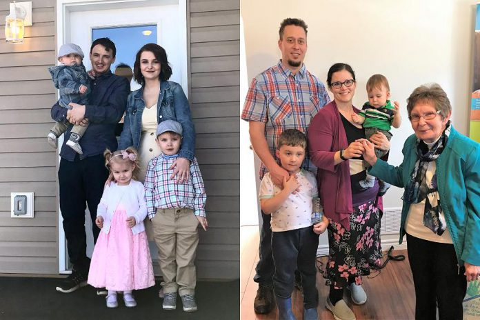 "The Mills family and the Sorenson family are now the proud owners of two new homes at 39 and 41 Hamilton Street in Lindsay, thanks to Habitat for Humanity Peterborough & Kawartha Region.  A home dedication ceremony took place on April 16, 2019. Habitat for Humanity offers families a hand-up, not a hand-out, by providing an interest-free zero-downpayment mortgage with affordable monthly payments that are based on the family's income. In exchange, a family must demonstrate the ability to make monthly mortgage payments, agree to invest 500 ""sweat equity"" hours in their new home, and attend workshops on financial management and home maintenance to ensure they have the proper knowledge and skills to become successful long-term homeowners. (Photo courtesy of Habitat for Humanity Peterborough and Kawartha Region)"