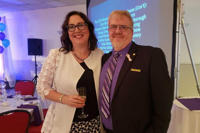 The late Judy Heffernan's husband Roy and daughter Charlina at the reception for the Women's Business Network of Peterborough's Women in Business Award and Judy Heffernan Award dinner at Personal Touch Banquet Hall in Peterborough on April 9, 2019. (Photo: Jeannine Taylor / kawarthaNOW.com)