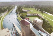 The Government of Canada is investing $10 million to support the construction of the new Canadian Canoe Museum will be built on a Parks Canada site adjacent to the Peterborough Lift Lock National Historic Site on the Trent-Severn Waterway. (Rendering: heneghan peng / Kearns Mancini Architects)