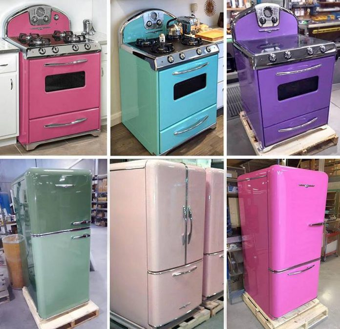 The Northstar line of 1950s-look retro appliances features ranges, refrigerators, keg fridges, microwaves, hoods and splashbacks, and dishwasher panels. The appliances come in nine different color options, including pale pastels and bright colors that pop. You can go even more individual by choosing one of 185 custom colours. (Photo courtesy of Elmira Stove Works)
