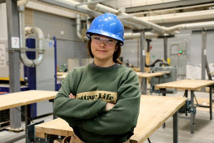 Erika Mistelbacher advises her fellow students considering a career in the skilled trades to apply to the Ontario Youth Apprenticeship Program. (Photo courtesy of Peterborough Victoria Northumberland and Clarington Catholic School Board)