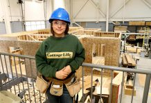Secondary school student Erika Mistelbacher is enrolled in the Ontario Youth Apprenticeship Program and is studying carpentry at Fleming College's Kawartha Trade Centre in Peterborough. When she completes her apprenticeship training she hopes to work with her father, who owns a construction and design company. (Photo courtesy of Peterborough Victoria Northumberland and Clarington Catholic School Board)