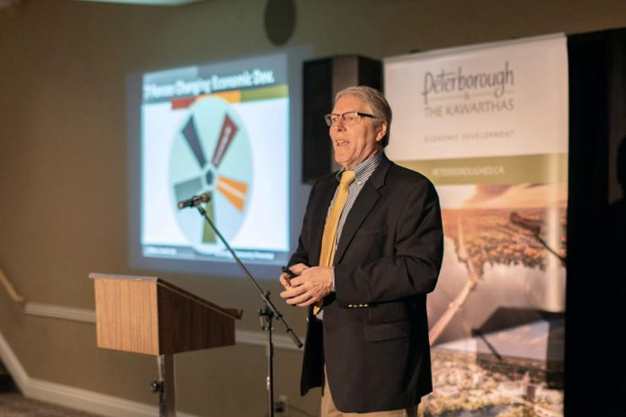 Economic development industry thought-leader Eric Canada wrapped up the event with his keynote address, describing how the global business environment is changing and what communities can do to ensure they aren't left behind. (Photo: Peterborough & the Kawarthas Economic Development)