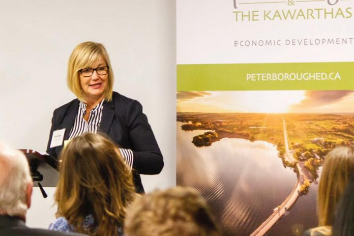 "Dana Empey, chair of the board of Peterborough & the Kawarthas Economic Development (PKED), in a screenshot from the economic development organization's ""2018 year in review"" video. Empey was one of the speakers at PKED's annual gneeral meeting, held on April 25, 2019 in the Nexicom Studio at Showplace Performance Centre in downtown Peterborough. (Photo: Peterborough & the Kawarthas Economic Development)"