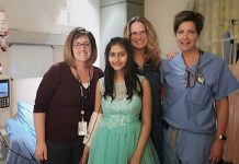 Kristey (second from left) is a 13-year-old girl currently receiving treatment at Peterborough Regional Health Centre, which has made it challenging for her to go shopping for a dress for her Grade 8 gradulation. Staff of the Pediatric Outpatient Clinic including RN Shay Cannon (left) contacted Shelby Watt (second from right), owner of Save Our Soles in downtown Peterborough, to ask if she could help. (Photo: Peterborough Regional Health Centre / @prhc1 Instagram)