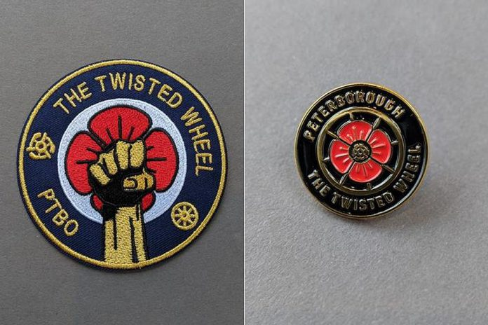 PTBO Northern Originals owner Mike Watt created the pin and patch designs based on the poppy and clenched fist symbols associated with the original The Twisted Wheel nightclub in Manchester, England that operated in the late 1960s, along with the northern soul dance and music movement that emerged from the English mod subculture of that era. (Photos: PTBO Northern Originals)
