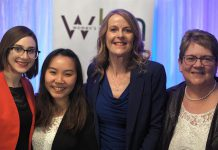 2019 Judy Heffernan Award winner Kim Appleton (right) along with 2019 Women in Business Award winner Monika Carmichael (second from right) and Tara Spence from Trent University and Jo Oanh Ho from Fleming College, the recipients of the 2019 Female Business Student Award. Not pictured: Erin McLean and Bridget Leslie, the two finalists for the 2019 Women in Business Award. (Photo: Bianca Nucaro / kawarthaNOW.com)