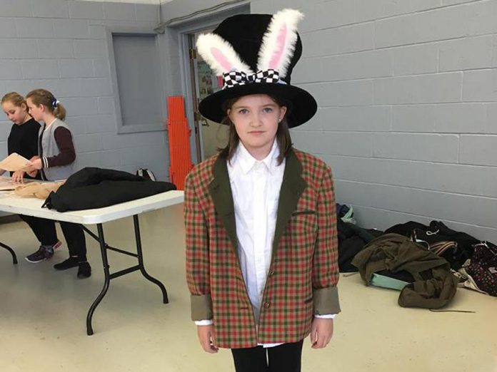 """Mairi Silverthorn in costume as the March Hare during a rehearsal of  """"Alice @ Wonderland: The Musical"""". (Photo:  Jim Mills)"""