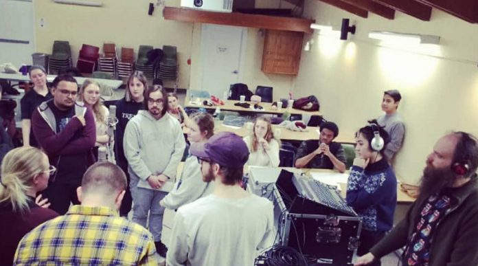 In 2019, participants in a radio/podcast workshop class at Trent University produced live radio dramas from Scott House that were broadcast on Trent Radio as part of the Community Connections project. Trent Radio is working to develop a regular curriculum of workshops they can offer to community organizations. (Supplied photo)