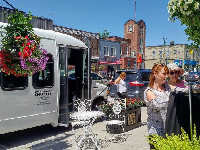 The White Lightning Shopping Bus in Fenelon Falls during a test run in July 2018. The free bus service will run every Tuesday making stops at locations in Kawartha Lakes including Lindsay, Fenelon Falls, Bobcaygeon, Omemee, and more. (Photo: White Lightning Bus Tours)