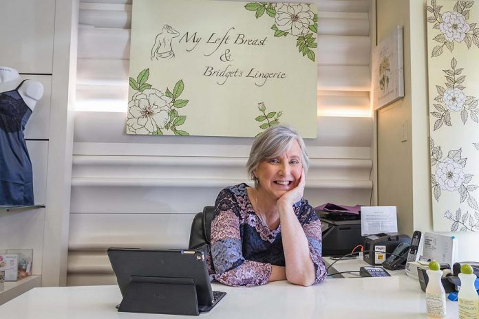 Herself a breast cancer survivor, Bridget Leslie owns and operates My Left Breast, a specialty boutique that provides women who are going through their breast cancer journey with a vast collection of post-mastectomy wear and emotional support. Leslie was one of two finalists for the 2019 Women in Business Award. (Photo: Heather Doughty / Inspire The Women's Portrait Project)