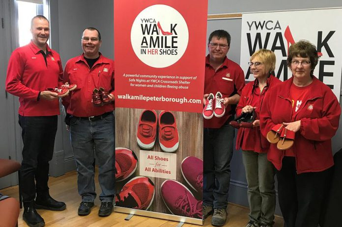 Members of Team Merritt at the April 4, 2019 launch of the 2019 YWCA Walk a Mile in Her Shoes fundraiser. Merrett Home Hardware Building Centre is the title sponsor of the event, which takes place on May 24, 2019.  (Photo courtesy of YWCA Peterborough Haliburton)