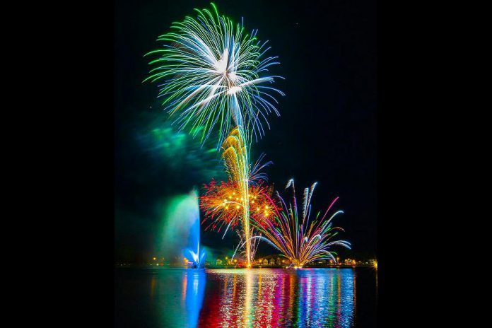 The 2018 fireworks display above Little Lake in Peterborough. The 2019 Rotary Victoria Day fireworks and family night takes place on May 18th, with a rain date of May 19th. Admission is free. (Photo: Devon Ulrich / devonulrichphoto.com)